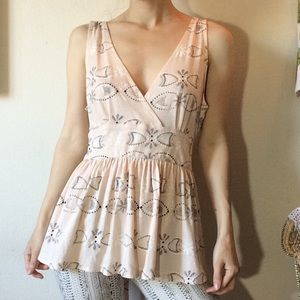Anthropologie C. Ker XL Pale Pink Deco Tank Top